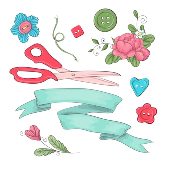 Set of mannequin sewing accessories. hand drawing