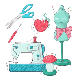 Set of mannequin sewing accessories