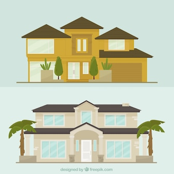 Set of mansions facades in flat design
