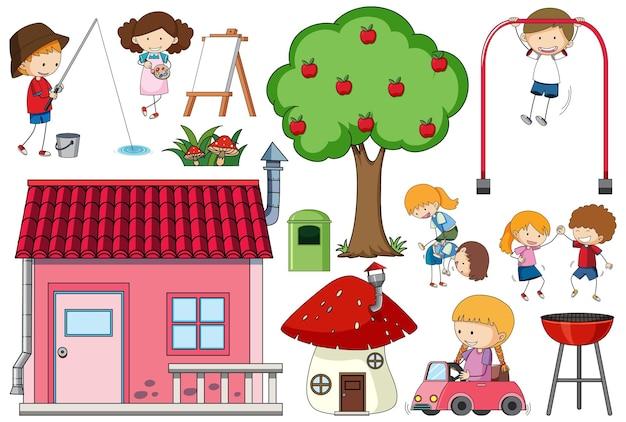 Set di tanti bambini con una casa