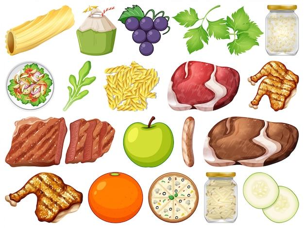 Set of many food