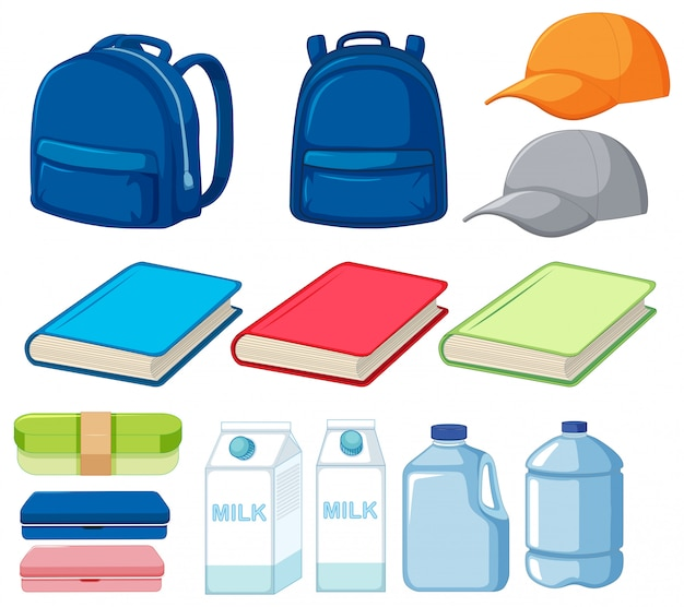 Set of many objects Free Vector