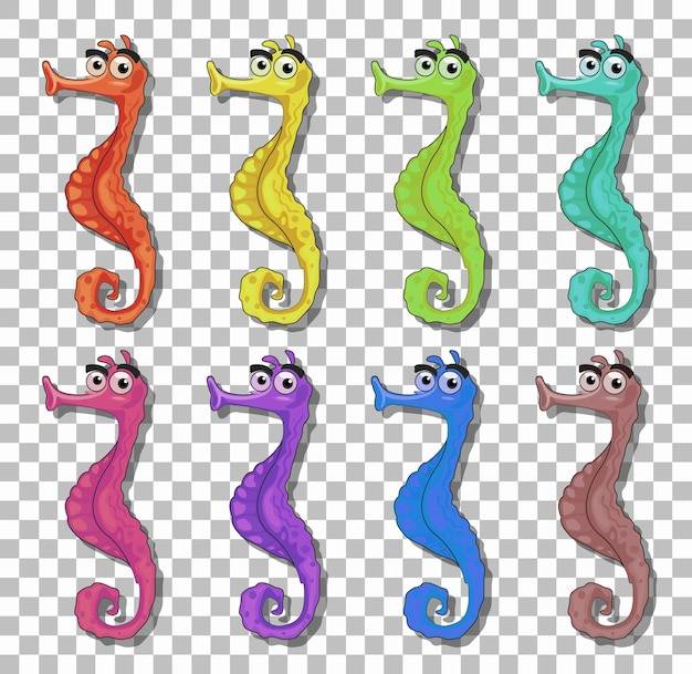 Set of many seahorse cartoon character isolated on transparent background