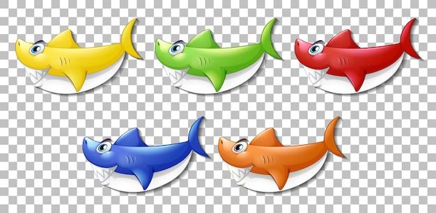Set di molti sorridente simpatico personaggio dei cartoni animati di squalo isolato su sfondo trasparente