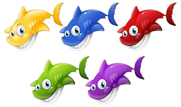 Set of many smiling cute shark cartoon character isolated on white background