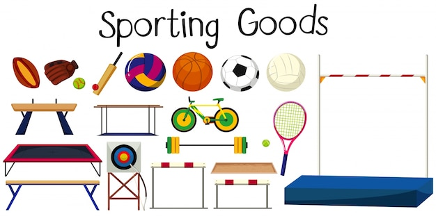 Set of many sport equipments illustration