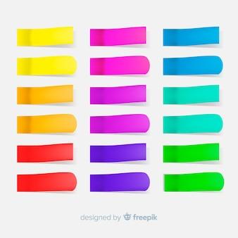 Set di molte note adesive in stile realistico