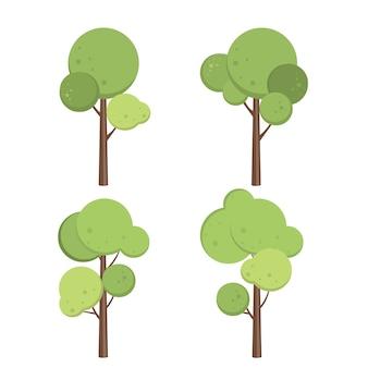 カエデの木を設定します緑の植物の緑の植物花のコレクションの図