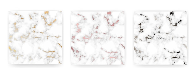 Set of marble golden texture background.