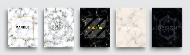 Set of marble texture posters. luxury covers template design. minimal white, dark, pink marmoreal backgrounds with golden line