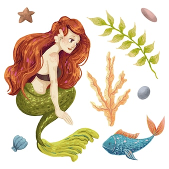 A set of marine illustrations with a mermaid, a fish, an algae, a shell, pebbles, a star drawn with colored pencils