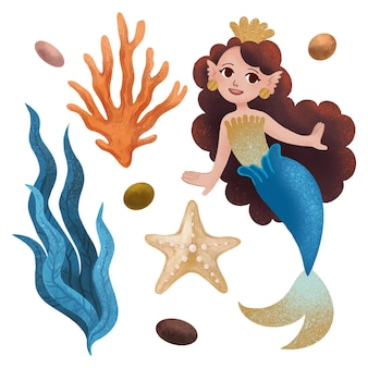 A set of marine illustrations with a mermaid princess, a starfish, coral, seaweed, a shell, pebbles, a star drawn with colored pencils