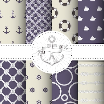Set of marine and nautical backgrounds - sea theme seamless patterns collection