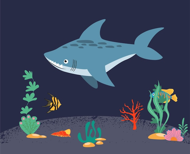 A set of marine and oceanic habitats in the center of which is a gray shark beautiful coral reef