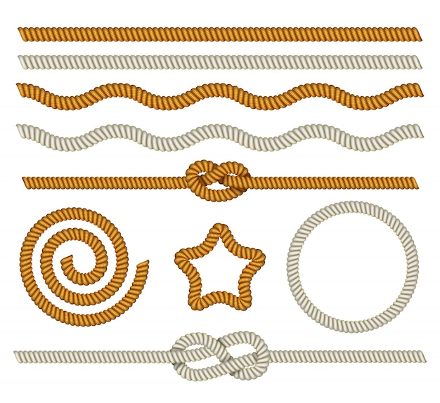Set of marine ropes, knots, nautical border and frame