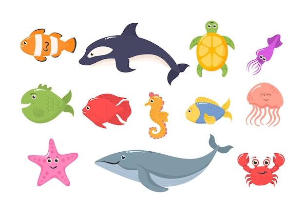 Set of marine wildlife