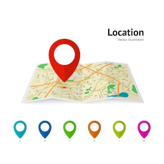 Set of marker pointer on map. modern plan pin pointer roadmap. gps navigation systems.