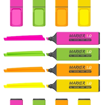 Set of markers with highlighter elements isolated