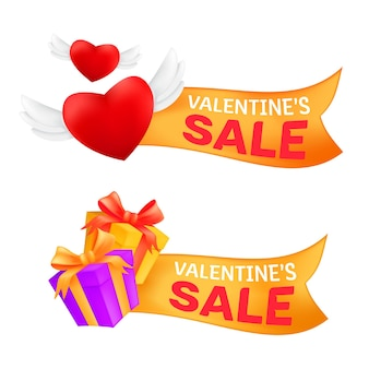 Set of marketing sale banners valentine's day celebrating with flying heart with angel wings and gift box wrapped golden ribbon isolated on a white background