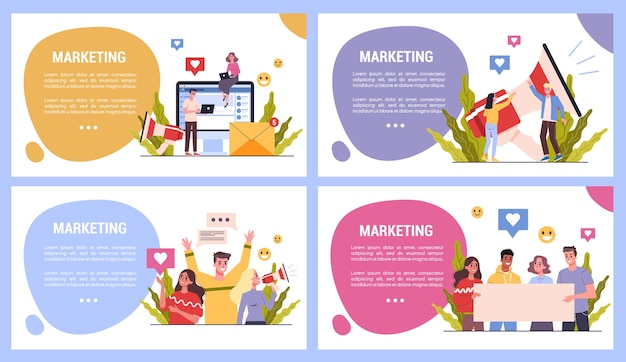 Set of marketing strategy web banner concept. advertising and marketing concept. communication with customer. business strategy and success. seo and communucation through media.  illustration