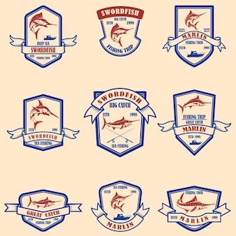 Set of marlin, swordfish emblems.