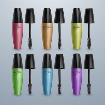Set of mascaras for eyelashes colorful, 3d realistic illustrations,