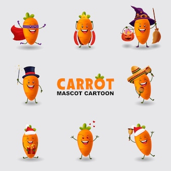 Set of mascot cartoon illustration carrot in several pose isolated background