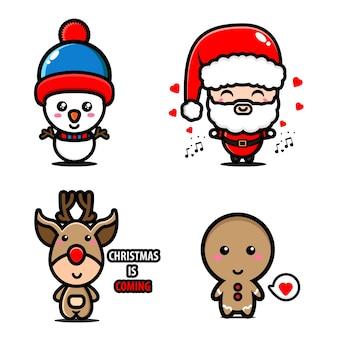 Установите талисман иллюстрация санта-клауса, снежного человека, оленей и печенья