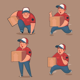 Set of mascot logo character fast courier delivery man