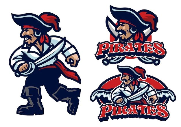Set of mascot pirate isolated on white