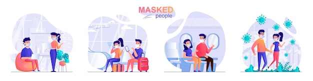 Установите людей в масках плоский дизайн концепции иллюстрации персонажей людей