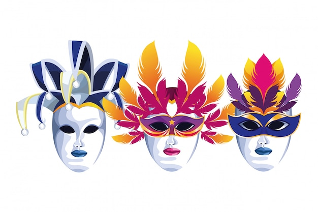 Set of masks with feathers