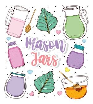 Set of mason jars cartoons