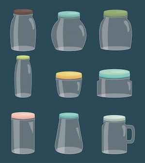Set of mason jars colorful
