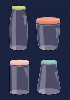 Set of mason jars colorful