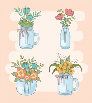 Set of mason jars with floral decorations