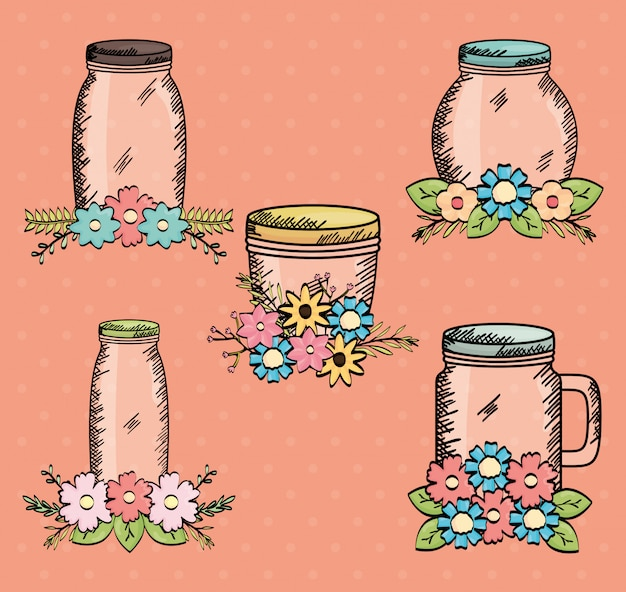 Set of mason jars with flowers drawing
