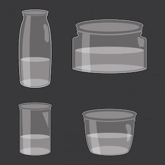 Set of mason jars with liquid