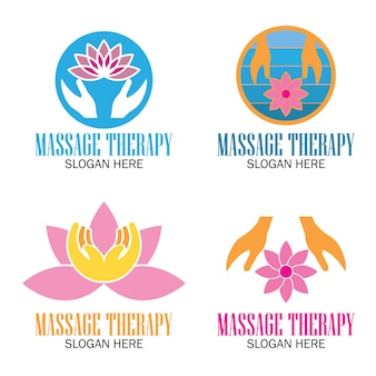 Set of massage therapy logo