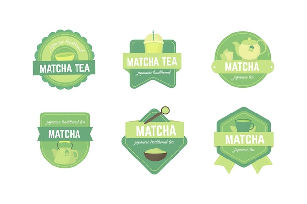 Set of matcha tea badges