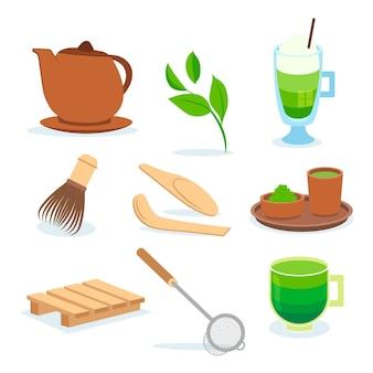 Set of matcha tea