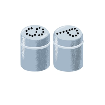 Set of matching cylindrical metal metal salt and pepper shakers