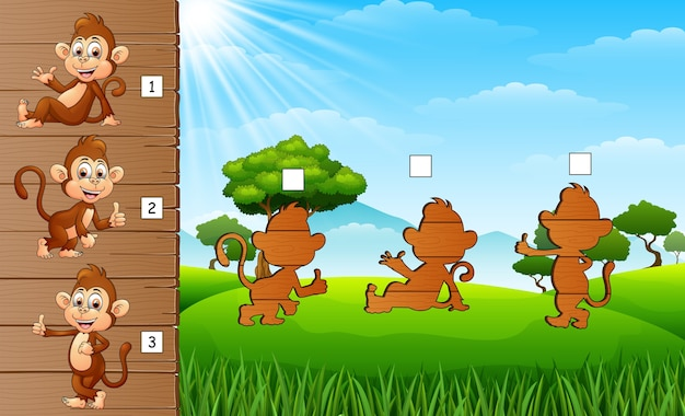 Set of matching monkey game