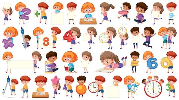 Set of mathematic kids character