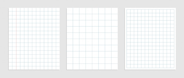 Set of mathematics square paper in various sizes
