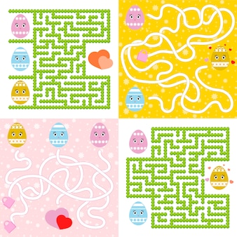 A set of mazes. cartoon style. visual worksheets. activity page.