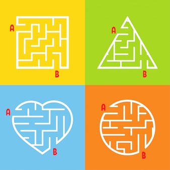 A set of mazes. game for kids. puzzle for children. labyrinth conundrum.