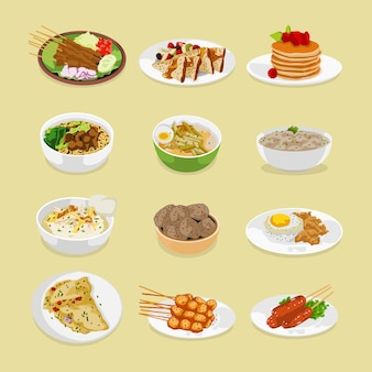 Set of meals for breakfast lunch and dinner illustration