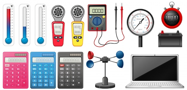 Set of measuring devices on white