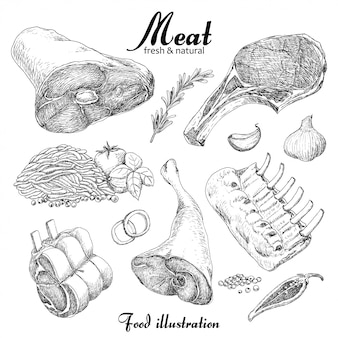 Set of meat
